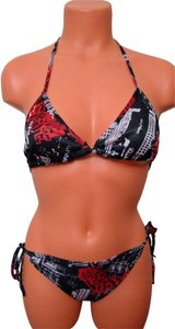 Chun Black Off White Red Geometrical Tie String Bikini Swimwear 1 Size Fits Most