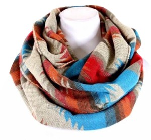 Other B55 Thick Aztec Print Turquoise Orange Red Beige Soft Blanket Infinity Scarf