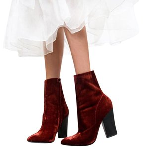 Zara Velvet Ankle Red Boots