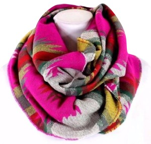Other B55 Thick Aztec Print Fuchsia Pink Green Yellow Soft Blanket Infinity Scarf