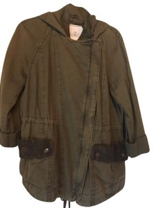 Anthropologie Lace Trim Details Cotton Hooded Military Jacket