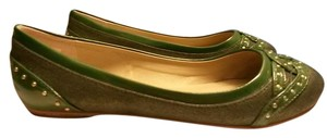 AJ. Valenci Leather Green Flats