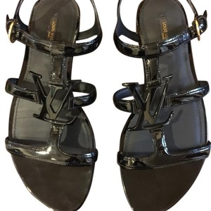 b9e8ae6448c87 Louis Vuitton Black Patent Leather Paradiso Ma1105 Sandals Size US 8 ...