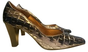 Bellini Leather Scarpin Heel Shiny Alligator Print Pointy Toe Blue, Silver Pumps