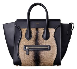 Céline Tote in Black/Goat Fur/Brown