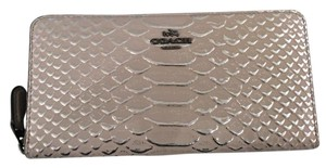Coach Accordian zip wallet in embossed leather DK/Grey Birch 56283 DKC2J