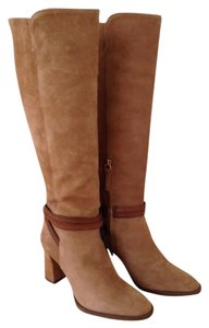Massimo Dutti Tan Chunky Heel taupe, light brown, camel Boots