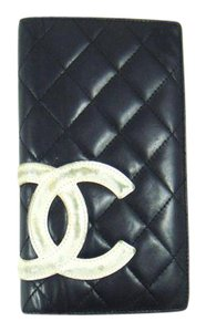 Chanel Quilted Cambon Leather Long Clutch Bifold Wallet Italy
