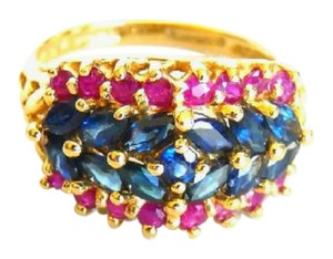 Other Red And Blue Sapphire Ring-Size 5- Marked 14k Gold Inside Ring Band