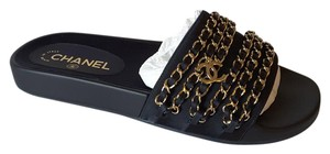 Chanel Runway Sandals Marine Navy Mules