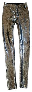 Isabel Marant Sequin Leggings Skinny Pants SILVER