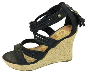 Guess Black and Tan Wedges
