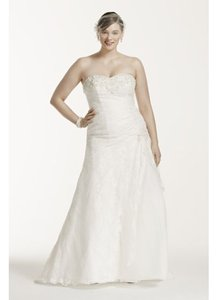 David's Bridal White Lace 9yp3344 Destination Wedding Dress Size 14 (L)