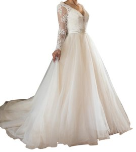 Allure Bridals Allure Bridals Long Sleeve Lace Tulle Blush Brand New Wedding Dress