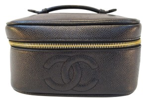 Chanel Chanel Caviar Skin Vanity Cosmetic Bag Black