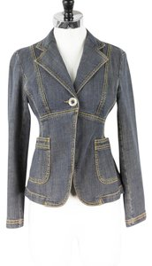 Michael Kors Denim Top Stitching Womens Jean Jacket