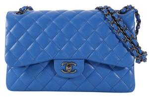 Chanel Blue Cc Quilted Double Ch.k1209.03 Shoulder Bag