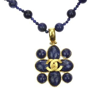 Chanel Chanel Blue Stone Four Leaf Clover Necklace