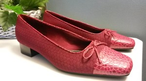 LifeStride Leather Fabric Career Loafers Casual Red Pumps