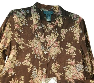 Ralph Lauren Office Wear Rll Soft Top Brown with flower print