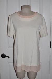 St. John Designer Knit Layered Top Cream