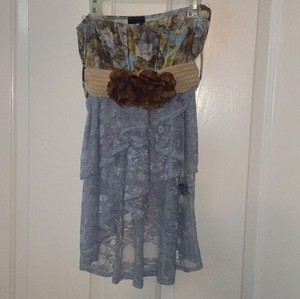 Rue 21 Top Periwinkle Blue/Brown