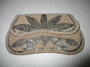 Other Vintage Pearl Snap Closure Handmade Japan White Clutch