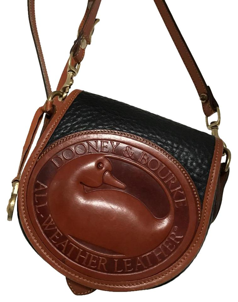 bbdb380d9fc7 Dooney   Bourke Vintage Duck Black   Brown Leather Cross Body Bag ...