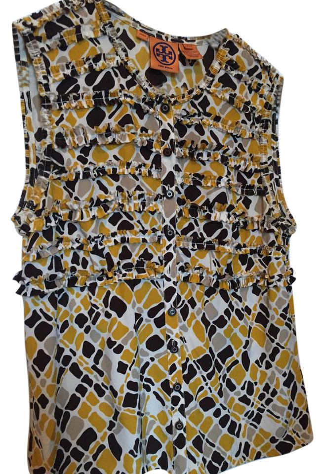 06ca31546458f Tory Burch Gold Taupe Cream and Chocolate Brown Ikat Print Sleeveless Blouse