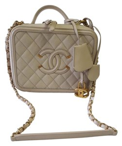 Chanel 2016 Filigree Caviar Vanity Satchel in beige