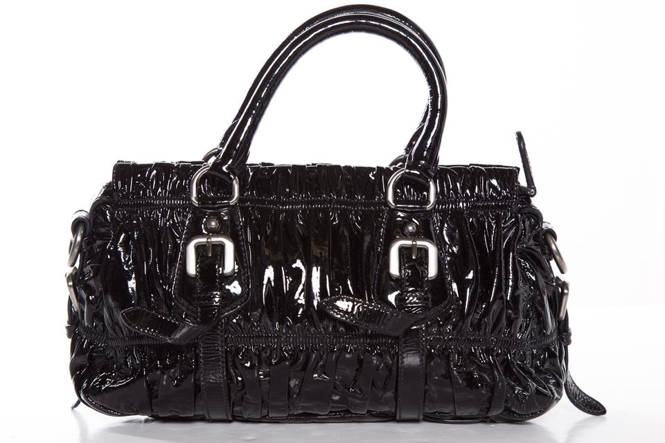 Leather Gaufre Vernice Handle Black Satchel Prada nOw1Ax