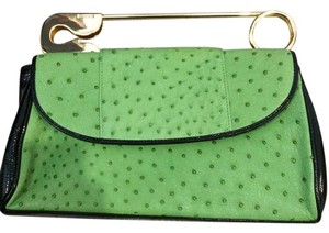 Bodhi Ostrich Safety Pin Gold Rare Green Clutch