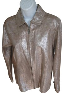 Chico's Tan/Silver Leather Jacket