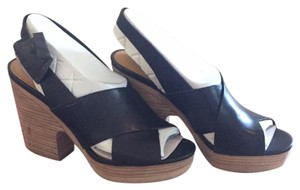 Lucky Brand Black/tan heel Mules