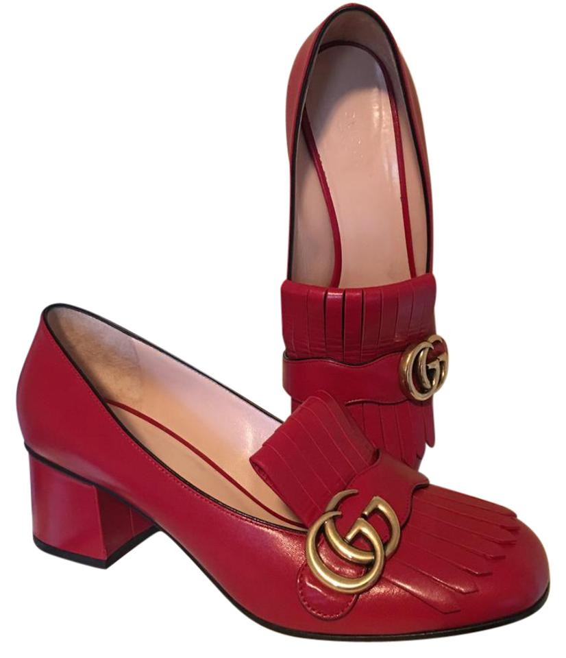 320443a4b4 Gucci Red Marmont Gg 38.5 Vulcanic Leather Mid Heel Loafers Pumps. Size: US  ...