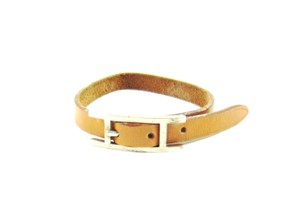 Hermès Silver/Brown Leather H Hapi Bracelet w/ Box France