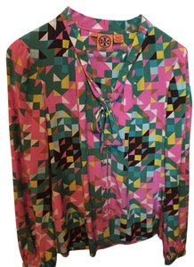 Tory Burch Top Pink, Green, Brown, Blue, Green, Yellow, Cream