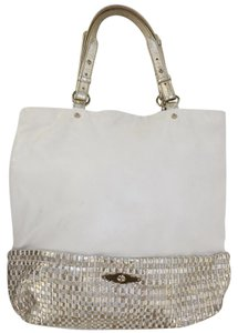Elliott Lucca Gold Woven Summer Spring Tote in Gold White