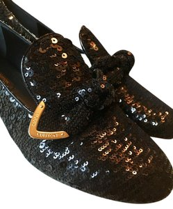 Louis Vuitton Luxury Limited Edition Sequin Black Flats