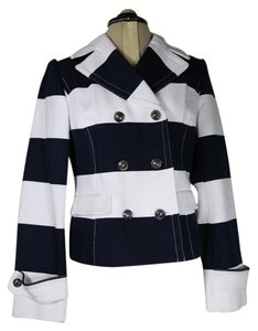 Banana Republic Cotton Double Breasted Bold Navy and white stripe Jacket