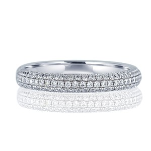Micro-pave Hand Set Diamond Band. 18k White Gold Def Vs1-vs2