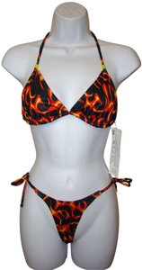 Other Zuliana - Black Red & Yellow Fire Print String Thong Bikini - Size S