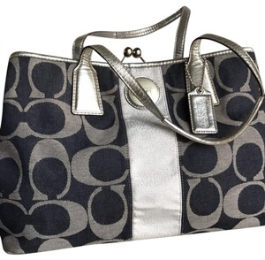 Coach Satchel in Jeans Canvass And Silver Leather