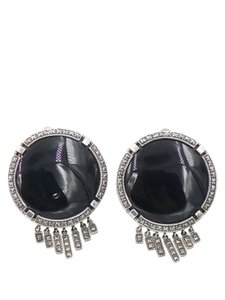 Other Sterling Silver and Onyx with Marcasite Accent Fringe Round Earrings