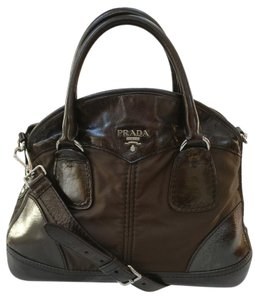 Prada Leather Brown Cross Body Satchel in Black