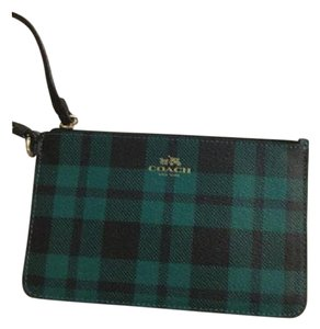 Coach Wristlet in Green Plaid