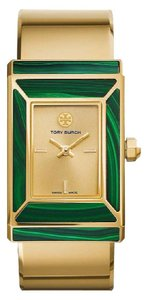 Tory Burch ROBINSON WATCH, LIMITED EDITION, GOLD-TONE/MALACHITE, 38 X 25 MM