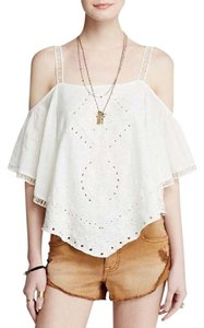 Free People Cutwork Toosaloosa Dahlia Cold Top WHITE