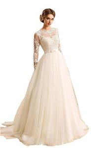 Women's Long Sleeves Jewel Bow Sash Open Back Lace-up Wedding Dress