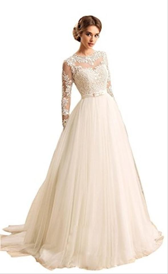 White Lace and Tulle Women\'s Long Sleeves Jewel Bow Sash Open Back ...